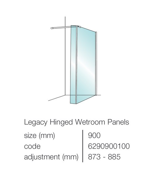 showerlux legacy 8mm clear glass hinged wetroom panel 900mm