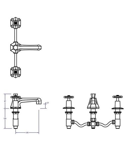crosswater waldorf crosshead 3 hole deck mount basin mixer