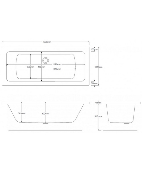 Alternate image of Pura SQR Double Ended Bathtub With Legset