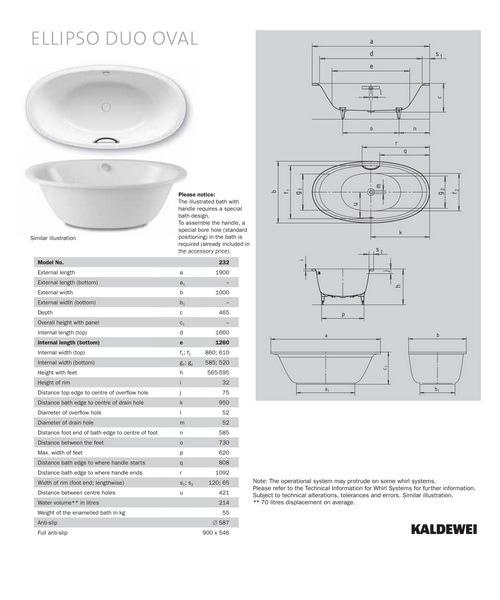 kaldewei avantgarde ellipso duo oval 232 steel bath 1900 x 1000mm. Black Bedroom Furniture Sets. Home Design Ideas