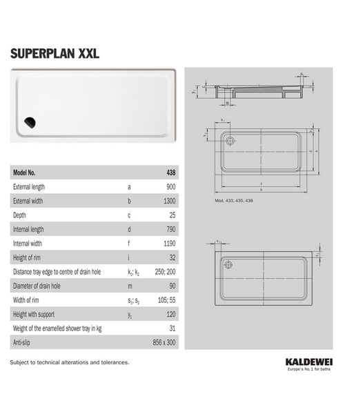 kaldewei avantgarde superplan xxl 900 x 1300mm steel. Black Bedroom Furniture Sets. Home Design Ideas