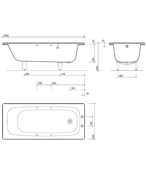 Alternate image of Twyford Celtic Plain Steel White 2 Tap Hole Bath With Legs
