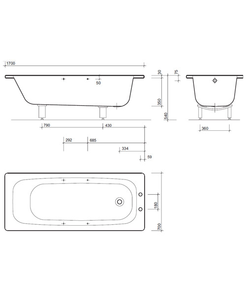 Additional image of Twyford Celtic Plain Steel Single Ended Bathtub With Legs And Grips