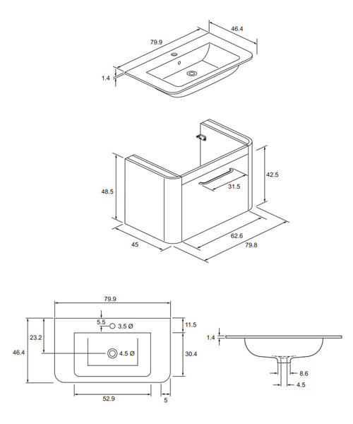Technical drawing 8565 / CL8000DAW+